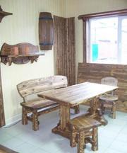 брус профилированный беседка скамейка стол состаренное дерево